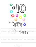 10 ten Handwriting Sheet