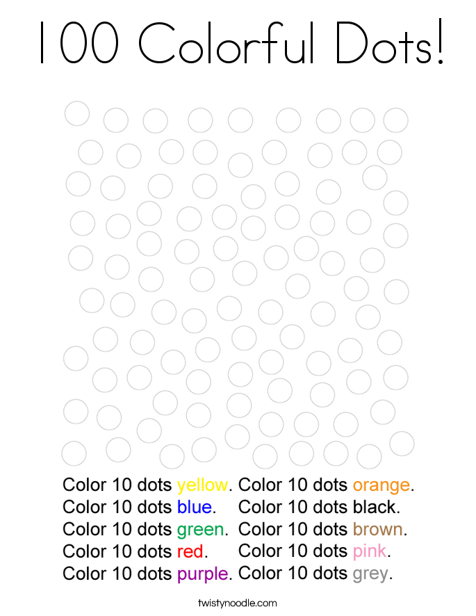 100 Colorful Dots! Coloring Page