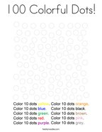 100 Colorful Dots Coloring Page