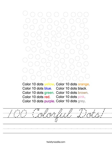 100 Colorful Dots! Worksheet