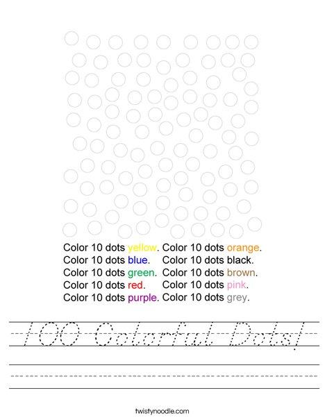 100 Colorful Dots! Worksheet