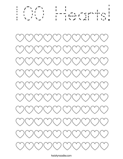 100 Hearts! Coloring Page