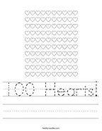 100 Hearts Handwriting Sheet