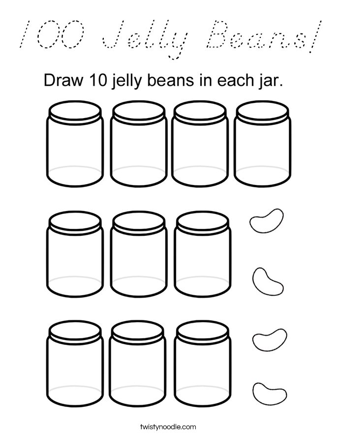 100 Jelly Beans! Coloring Page