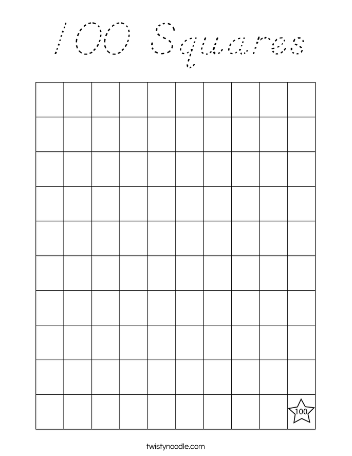 100 Squares Coloring Page