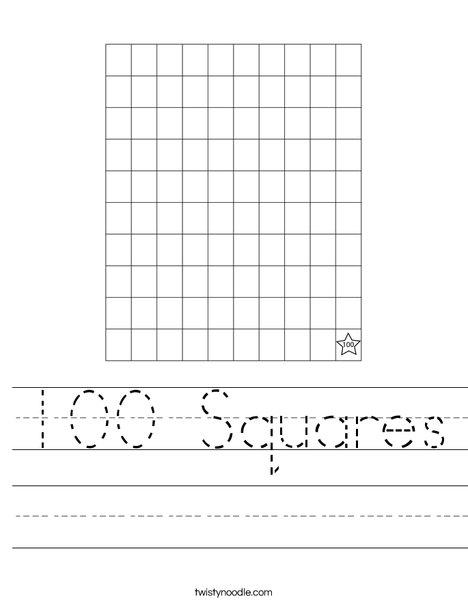 100 Squares Worksheet