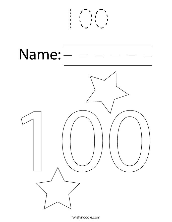 100 Coloring Page - Tracing