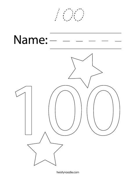 100 Coloring Page