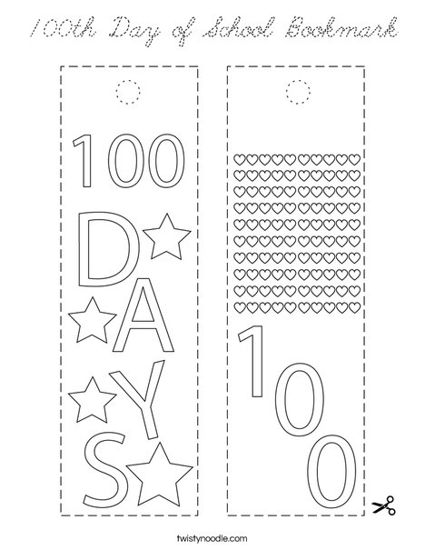 100th Day of School Bookmark Coloring Page