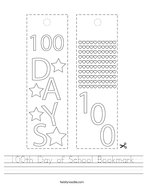 100th Day of School Bookmark Handwriting Sheet