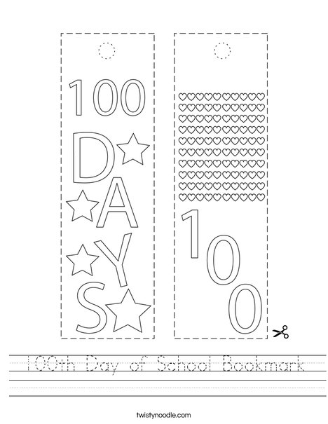 100th Day of School Bookmark Worksheet