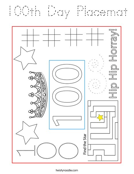 100th Day Placemat Coloring Page