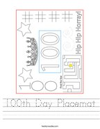 100th Day Placemat Handwriting Sheet