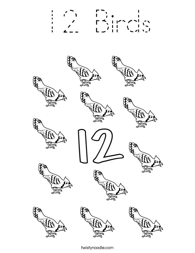 12 Birds Coloring Page