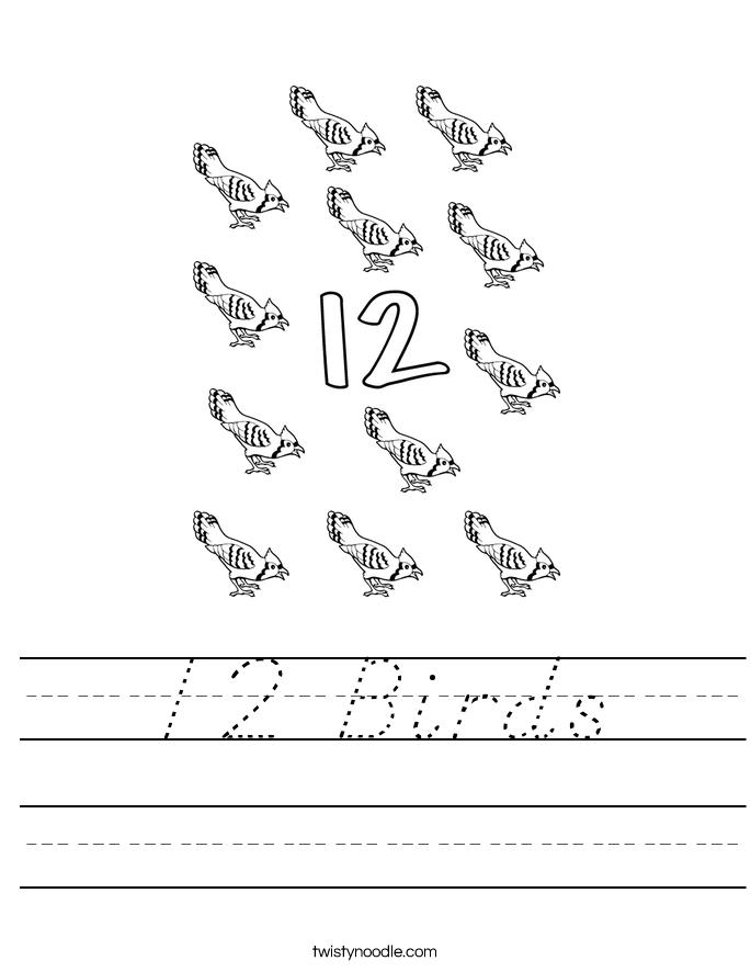 12 Birds Worksheet