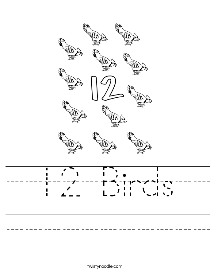 12 Birds Worksheet