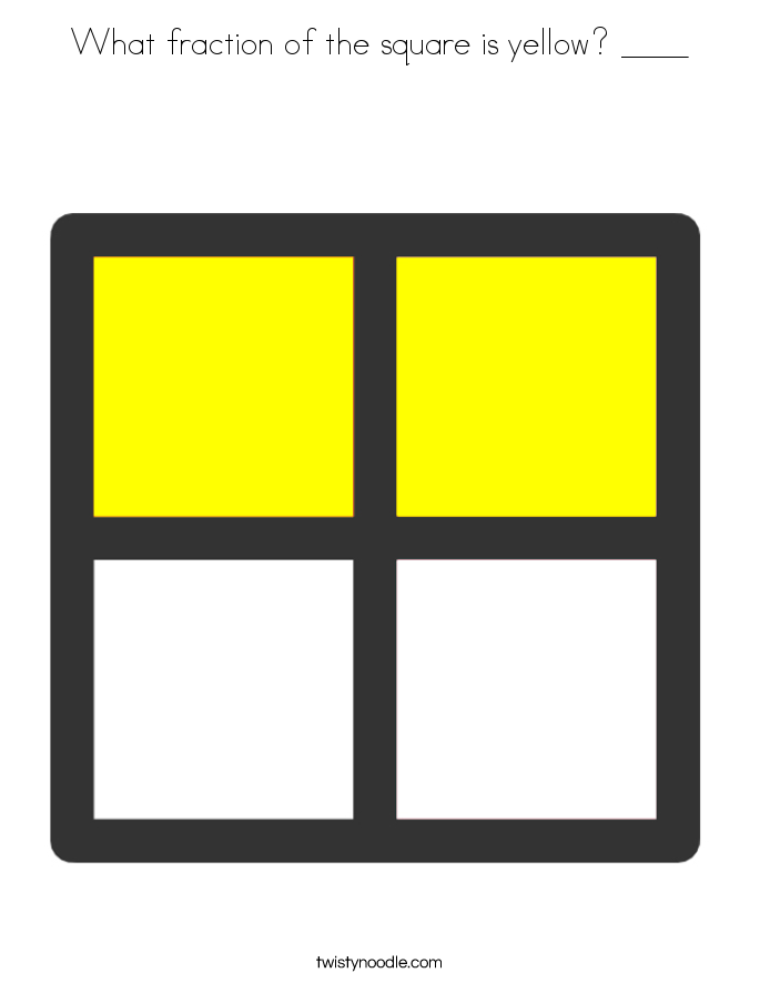 What fraction of the square is yellow? ____ Coloring Page