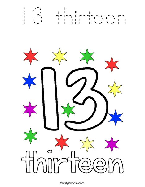 13 thirteen Coloring Page