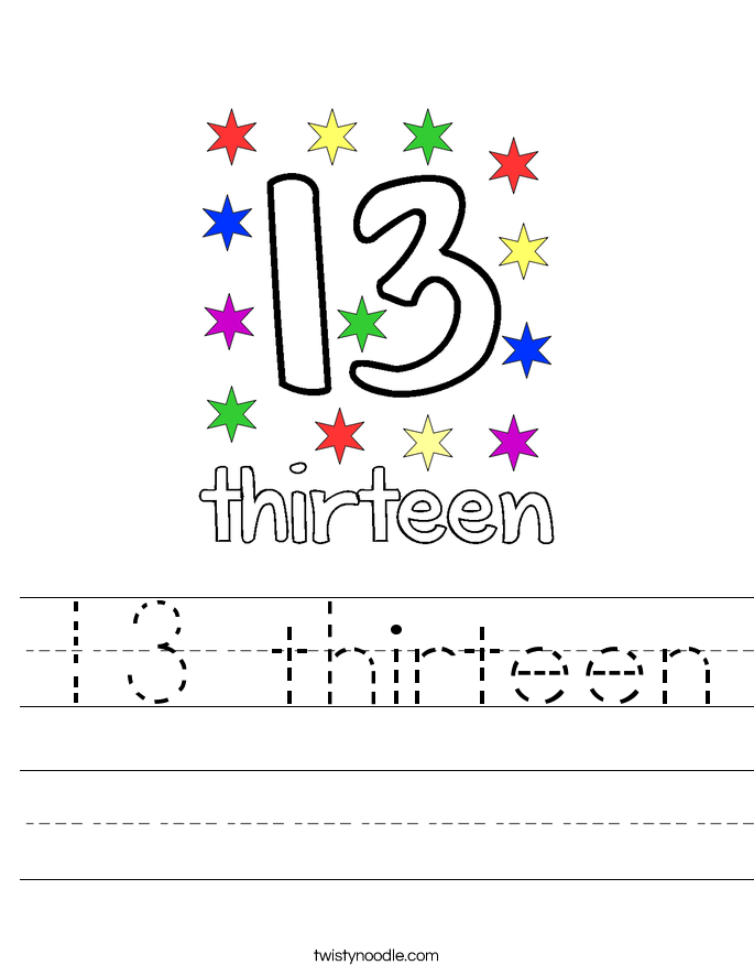13 thirteen Worksheet