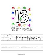 13 thirteen Handwriting Sheet