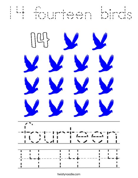 14 fourteen birds Coloring Page