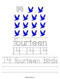 14 fourteen birds Worksheet