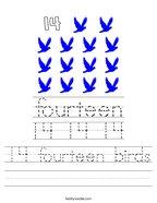 14 fourteen birds Handwriting Sheet