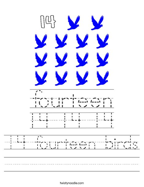 14 fourteen birds Worksheet