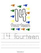 14 fourteen Handwriting Sheet