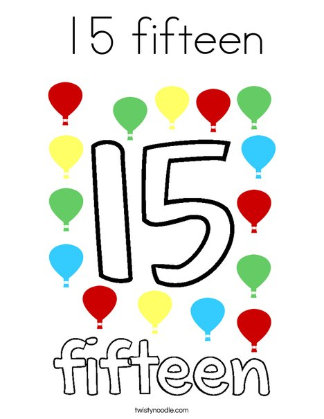 15 fifteen Coloring Page