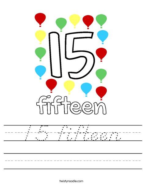 15 fifteen Worksheet