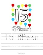 15 fifteen Handwriting Sheet