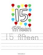 15 fifteen Handwriting Sheet