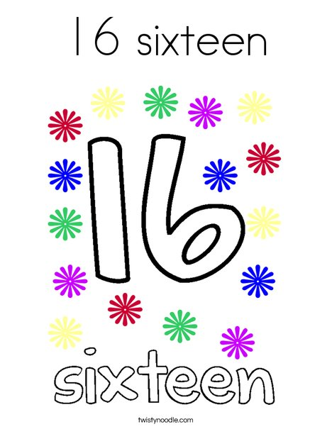16 sixteen Coloring Page