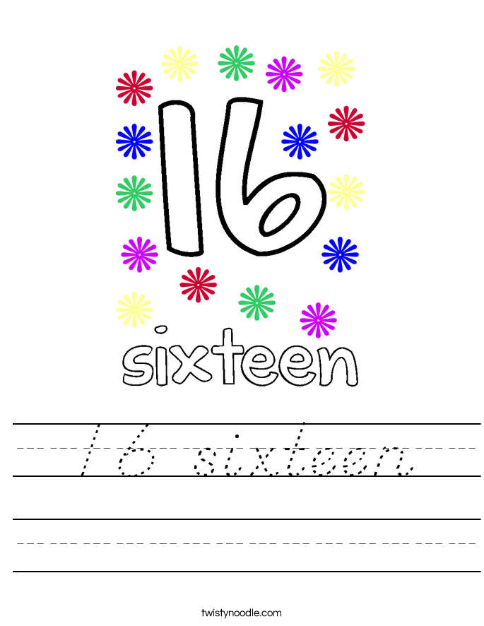 16 sixteen Worksheet