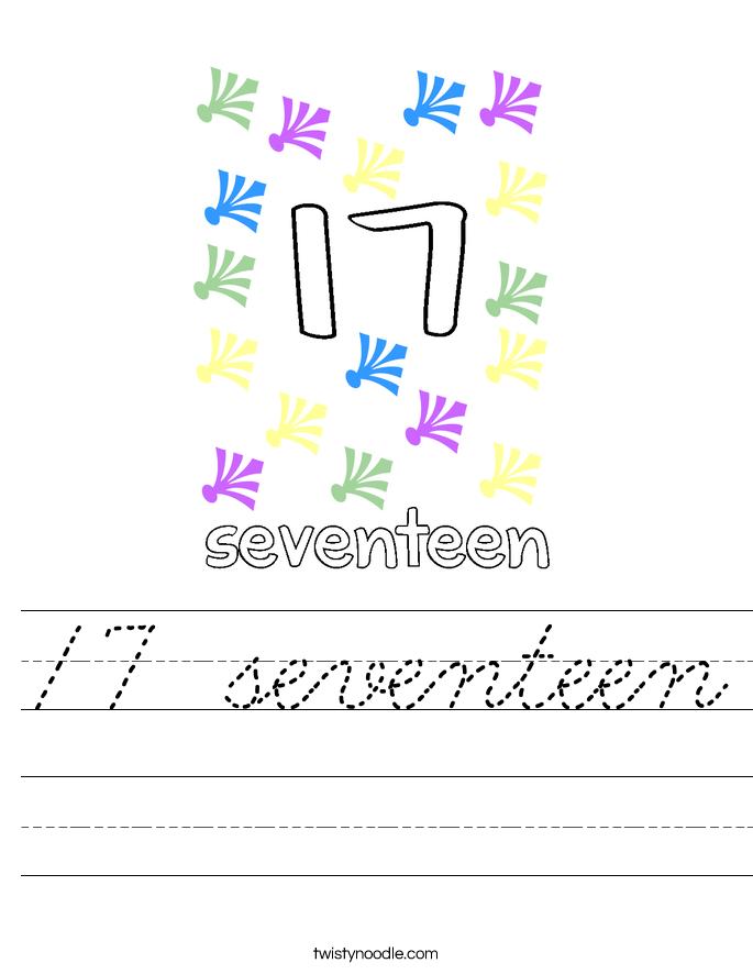 17 seventeen Worksheet