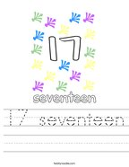 17 seventeen Handwriting Sheet