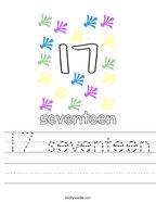 17 seventeen Handwriting Sheet