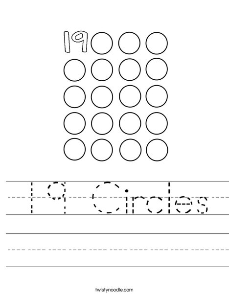 19 Circles Worksheet