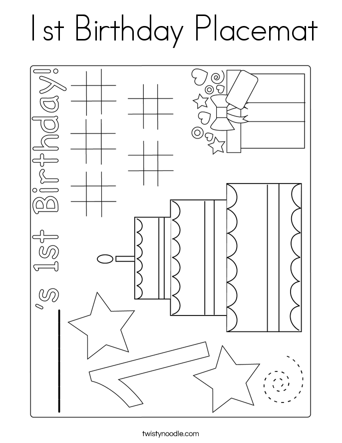 1st Birthday Placemat Coloring Page