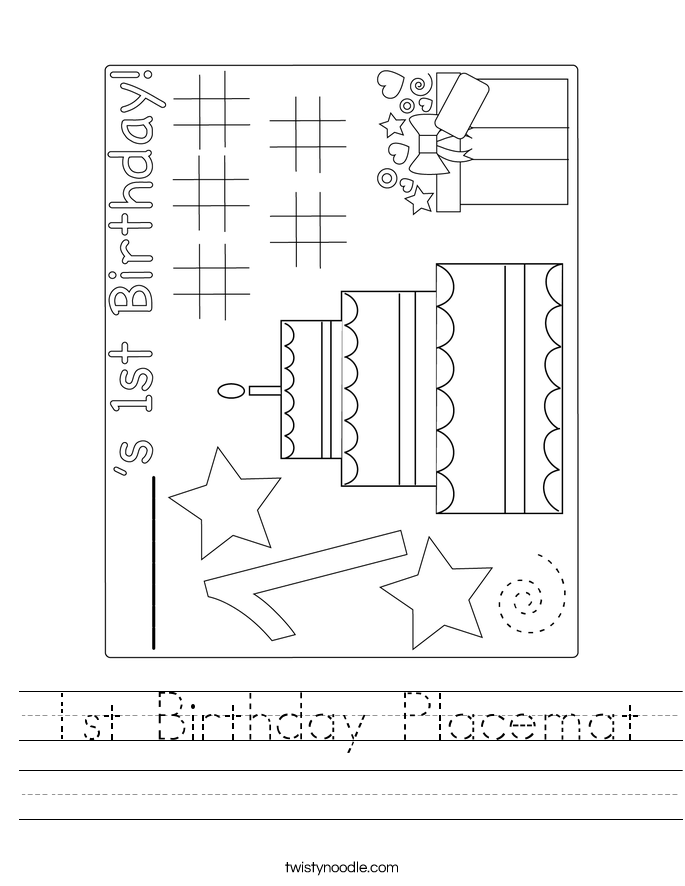 1st Birthday Placemat Worksheet