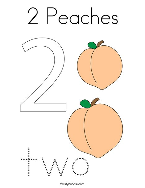 2 Peaches Coloring Page
