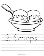 2 Scoops Handwriting Sheet