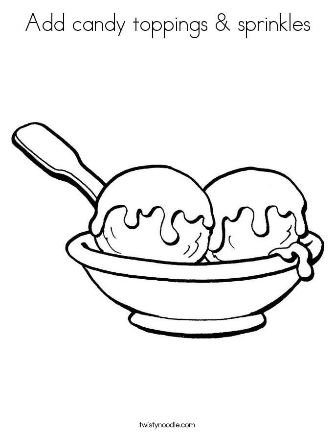 Add candy toppings & sprinkles Coloring Page