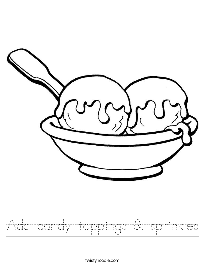 Add candy toppings & sprinkles Worksheet