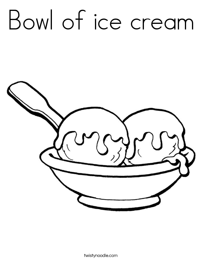 Bowl of ice cream Coloring Page - Twisty Noodle