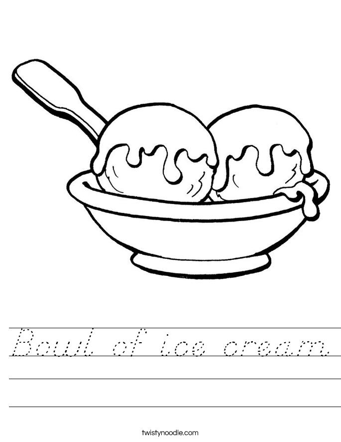 Bowl of ice cream Worksheet