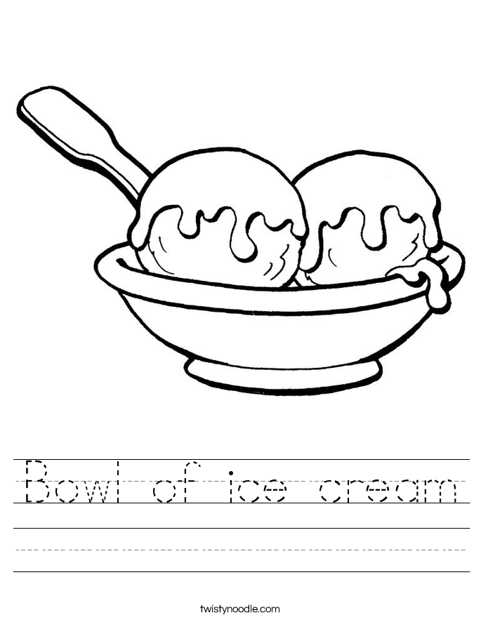 Bowl of ice cream Worksheet