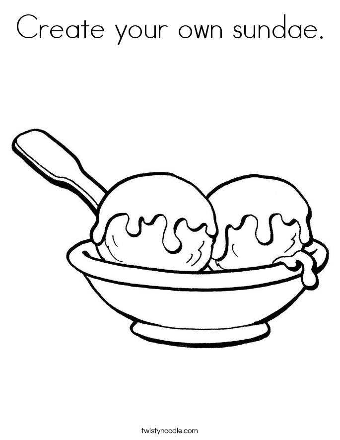 Create your own sundae. Coloring Page