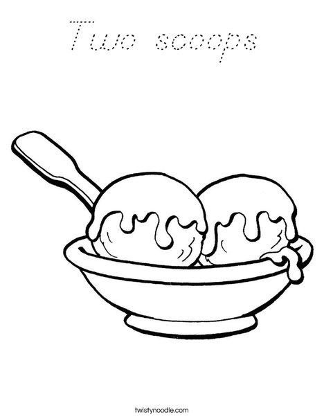 2 scoops ice cream Coloring Page